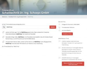 Find Mailchimp users for free - company view