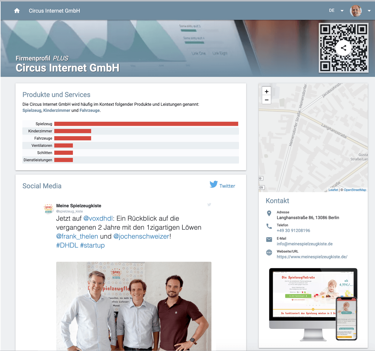 Social media posts in the company profile of the startup Circus Internet