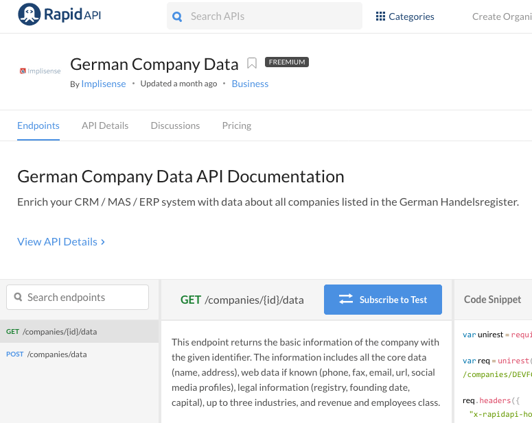 German Company Data API auf RapidAPI