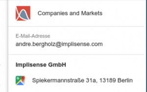 Resolve email addresses with the Implisense for GMail add-on