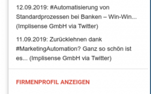 Aktuelle Ereignisse mit dem Implisense for GMail Add-on